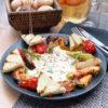 Тосканский салат с овощами гриль и муссом из сыра Чедер