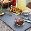 Стейк из мраморной говядины на гриле с овощами и соусом Дор-блю